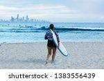 surfer silhouette gold coast ... | Shutterstock . vector #1383556439