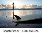 surfer girl at sunrise  gold... | Shutterstock . vector #1383558326