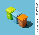 Small photo of Separate waste collection, disposal and recycling: set of miniature trash cans for waste segregation
