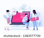 people build a dashboard and... | Shutterstock .eps vector #1383577730