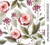 seamless pattern with flowers... | Shutterstock . vector #1383583103
