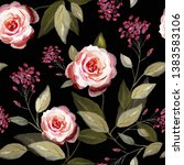 seamless pattern with flowers... | Shutterstock . vector #1383583106