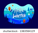 hello winter. freehand drawing. ...   Shutterstock .eps vector #1383584129