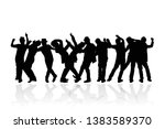 silhouette group of people... | Shutterstock .eps vector #1383589370