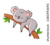 cute koala is sleeping on a... | Shutterstock .eps vector #1383593693