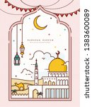 ramadan line style design with... | Shutterstock .eps vector #1383600089