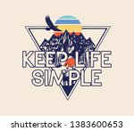 Stock vector keep life simple slogan vintage mountain tent camp fire sun trees deer and eagle illustration 1383600653