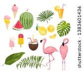 summer icons set  ice cream ...   Shutterstock .eps vector #1383601436