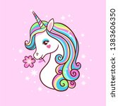 unicorn on a pink background...   Shutterstock .eps vector #1383606350