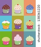 cute cupcake frame or poster... | Shutterstock .eps vector #138361220