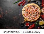 seafood pizza with a crispy... | Shutterstock . vector #1383616529