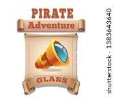 cute cartoon icon old spyglass...