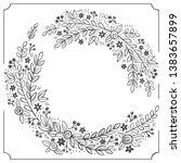 floral wreath monochrome doodle ... | Shutterstock .eps vector #1383657899