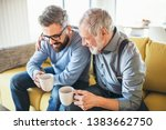 an adult hipster son and senior ... | Shutterstock . vector #1383662750