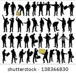 silhouettes of of working people | Shutterstock .eps vector #138366830