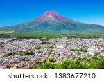 mt. fuji and lake kawaguchiko... | Shutterstock . vector #1383677210