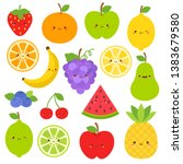 set of fruits with cute faces... | Shutterstock .eps vector #1383679580