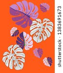 vector tropical pattern with... | Shutterstock .eps vector #1383691673