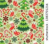 christmas vector seamless... | Shutterstock .eps vector #1383701216