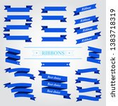flat vector design blue ribbons ... | Shutterstock .eps vector #1383718319