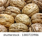 heap whole walnuts nutshell... | Shutterstock . vector #1383723986