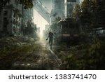 survivor walks through an... | Shutterstock . vector #1383741470