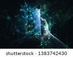 smartphone with some futuristic ... | Shutterstock . vector #1383742430