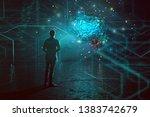 mann stands in front of an... | Shutterstock . vector #1383742679