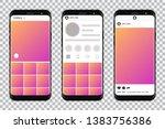 smartphones with mockup social... | Shutterstock .eps vector #1383756386