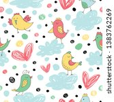 seamless pattern with funny... | Shutterstock .eps vector #1383762269