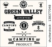 Camping labels set.valley vector set.adventure camping set.