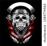 skull with motorcycle helmet... | Shutterstock .eps vector #1383774563
