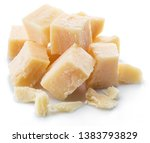 parmesan cheese cubes isolated...   Shutterstock . vector #1383793829