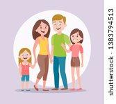 cute family portrait. mother ... | Shutterstock .eps vector #1383794513