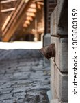 metal pipe coming out of brick...   Shutterstock . vector #1383803159