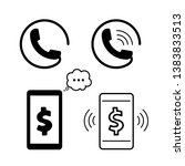 telephone or mobile with money... | Shutterstock .eps vector #1383833513