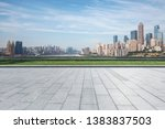 panoramic skyline with empty... | Shutterstock . vector #1383837503