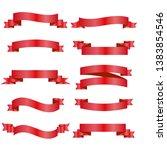 red ribbons set. vector design...   Shutterstock .eps vector #1383854546