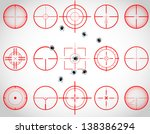 Set of fifteen red cross hairs, with bullet holes, vector
