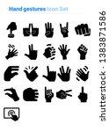 hand gestures icon set of black ...   Shutterstock .eps vector #1383871586