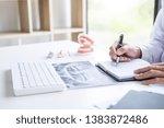 male doctor or dentist writing... | Shutterstock . vector #1383872486