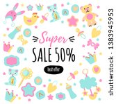 poster for the baby shop.... | Shutterstock .eps vector #1383945953