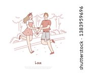 young couple dating  cheerful... | Shutterstock .eps vector #1383959696