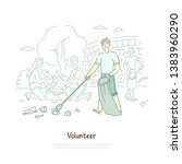 young man with disposal bag... | Shutterstock .eps vector #1383960290