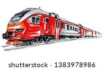 Modern Red Locomotive. Railway...