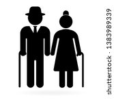 senior couple with walking cane.... | Shutterstock .eps vector #1383989339