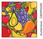 fruits seamless vector pattern... | Shutterstock .eps vector #1383993200