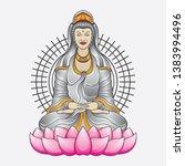 kwan yin goddess tattoo  vector ... | Shutterstock .eps vector #1383994496