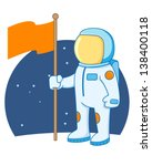 astronaut holding a flag in... | Shutterstock .eps vector #138400118