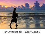 buddhist priest walk on the...   Shutterstock . vector #138403658